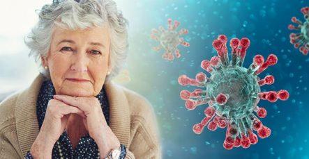 Ältere Dame die als Risikogruppe für den Coronavirus gilt